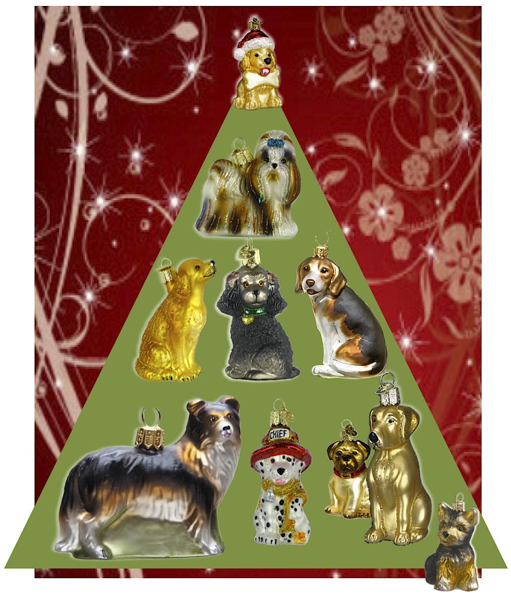 Top to Bottom, left to right, Jolly Pup in Santa Hat, Shih Tzu, Golden Retriever, Poodle, Beagle, Border Collie, Dalmatian, Pug, Yellow Lab,Yorkie. Many more breeds and generic dog ornaments are available, including different colors and poses.