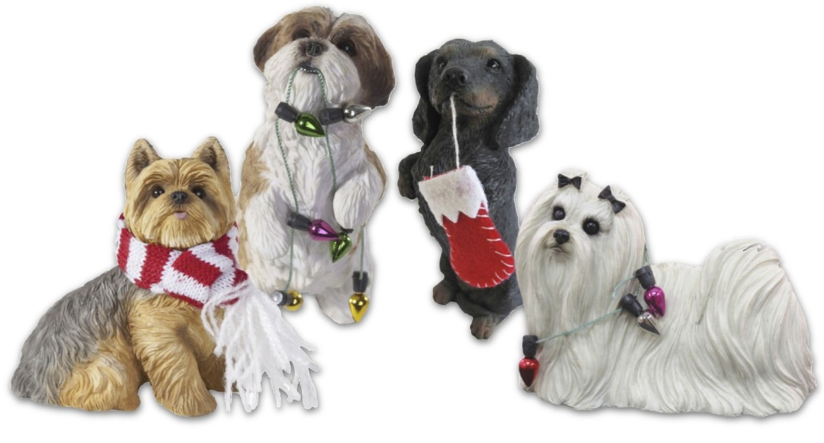 Handcast and Handpainted, Sandicast pet ornaments are created by world-renowned animal sculpture artist Sandra Brue. These are just a few of the many breeds and poses available from
