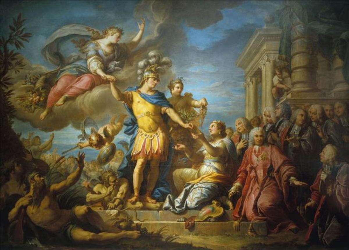"""A painting honoring the Treaty of Aix-la-Chapelle, which strengthened the then-French ally of Prussia but failed to provide any tangible gains for France. """"Stupid as the Peace"""" and """"To Die for the King of Prussia"""" became slogans in France afterwards."""