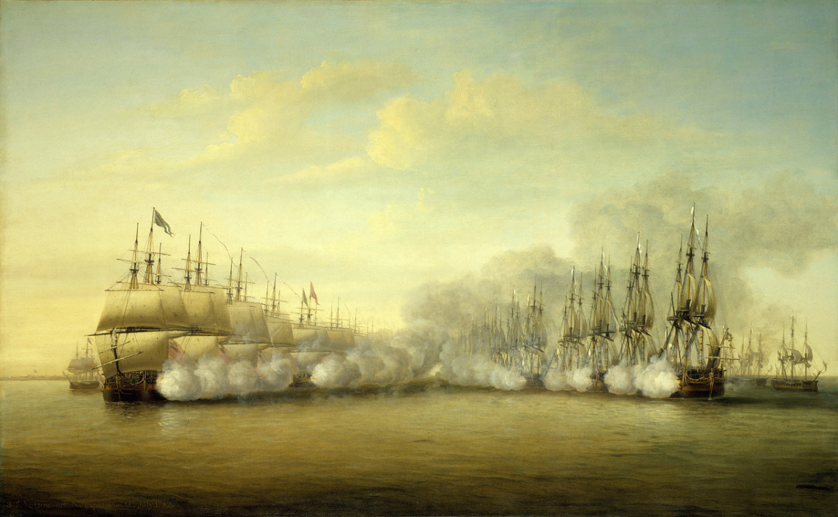 Large 18th century naval battles were dominated by line of battle tactics.