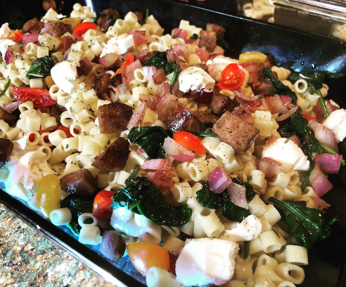 Pasta veggie bake, ready for the oven
