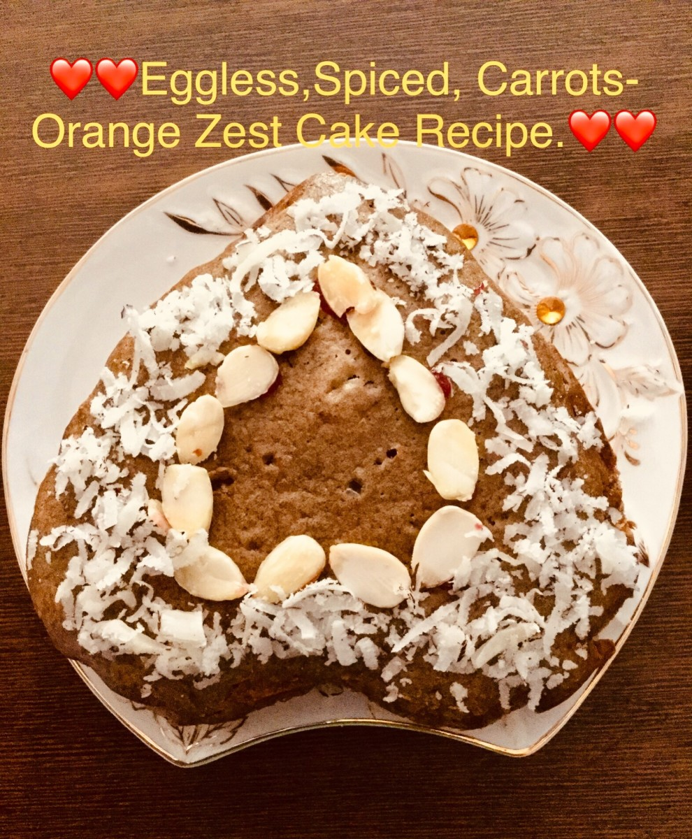Easy Spiced Carrots-Orange Zest, Eggless Cake—for the Vegetarians and Vegans