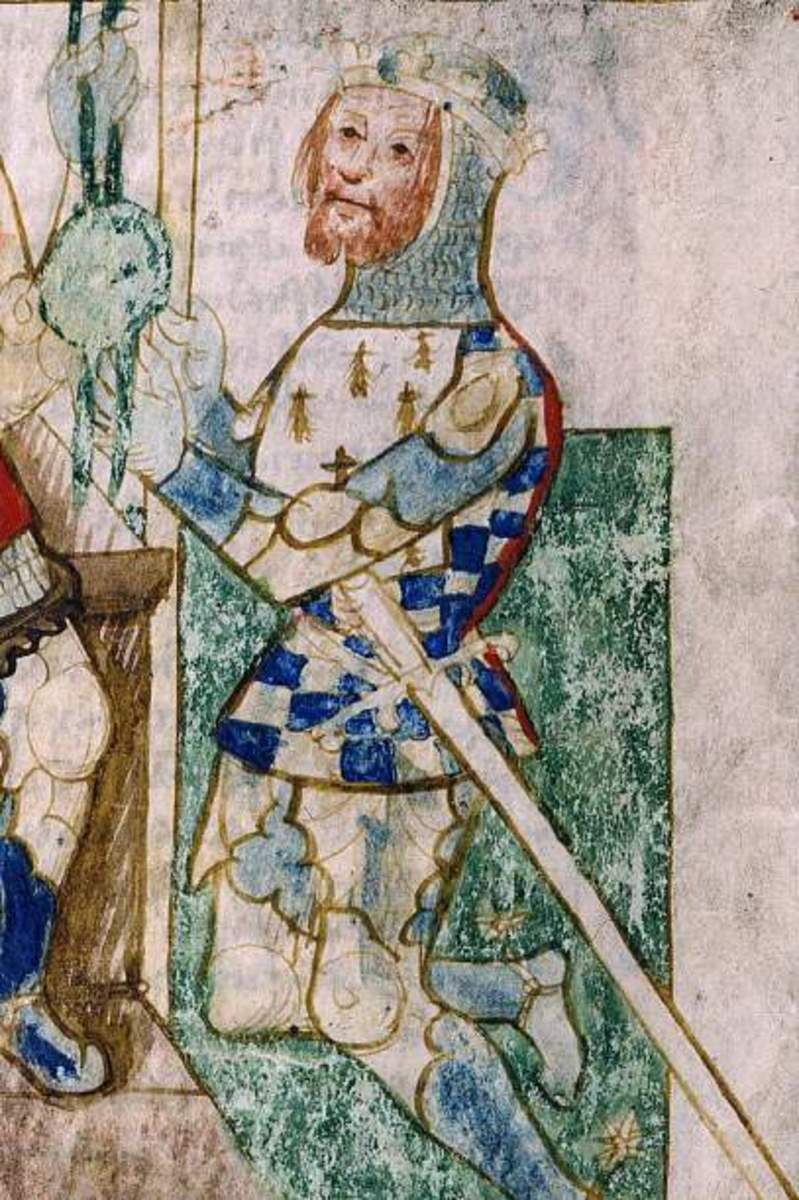 In an illustration that owes influence to later mediaeval apparel, Alan 'Rufus' swears allegiance to William I, his kinsman the king.