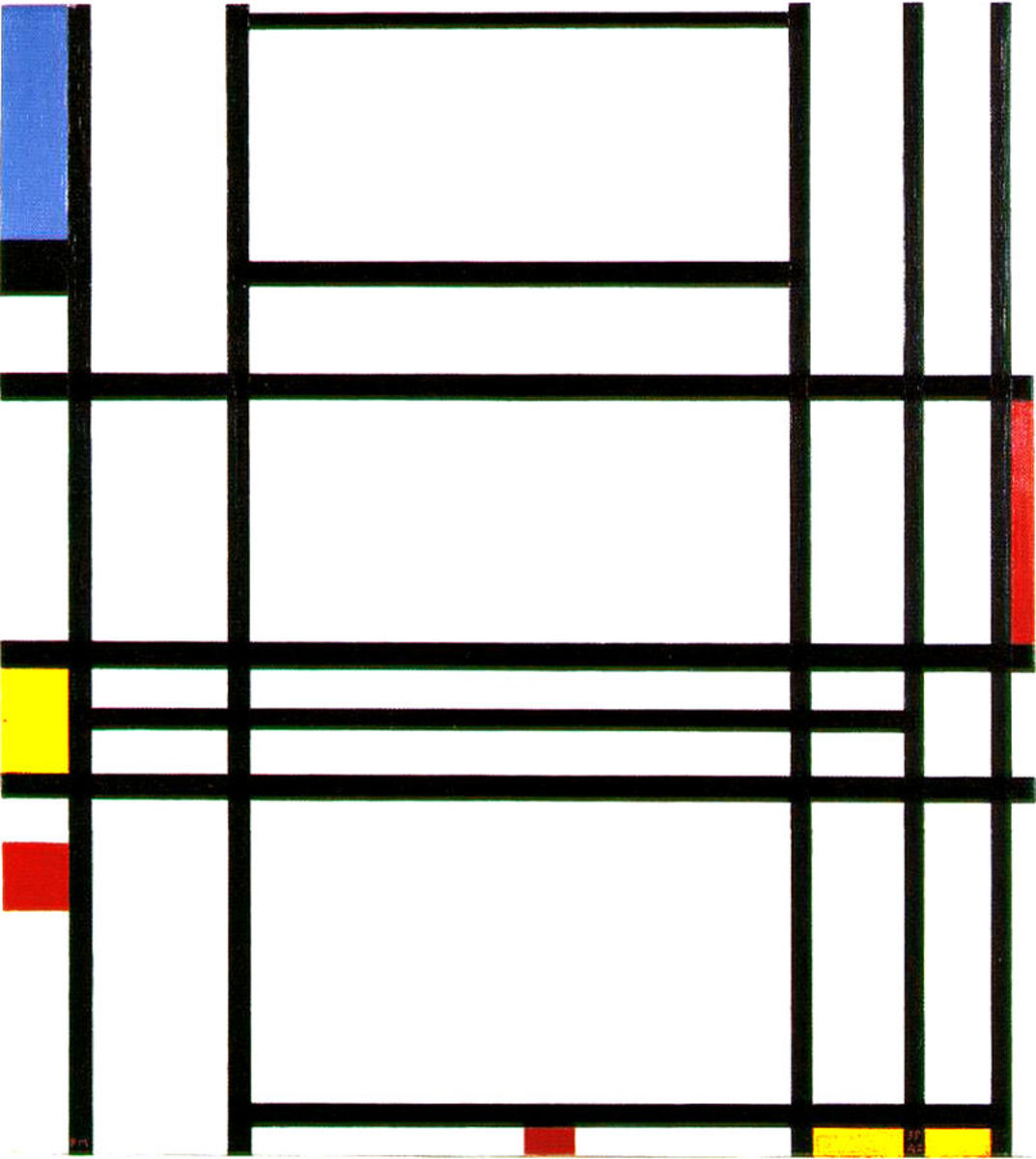 Example of an hard-edge painting by Piet Mondriaan, 1939-1942 - Composition 10.