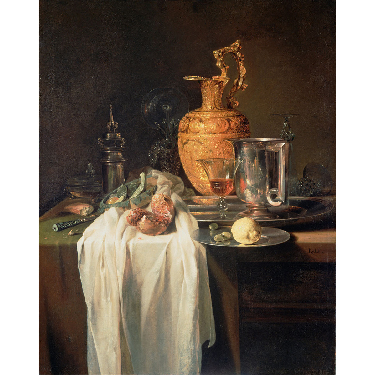 Kalf, Willem - Still Life with Ewer, Vessels and Pomegranate