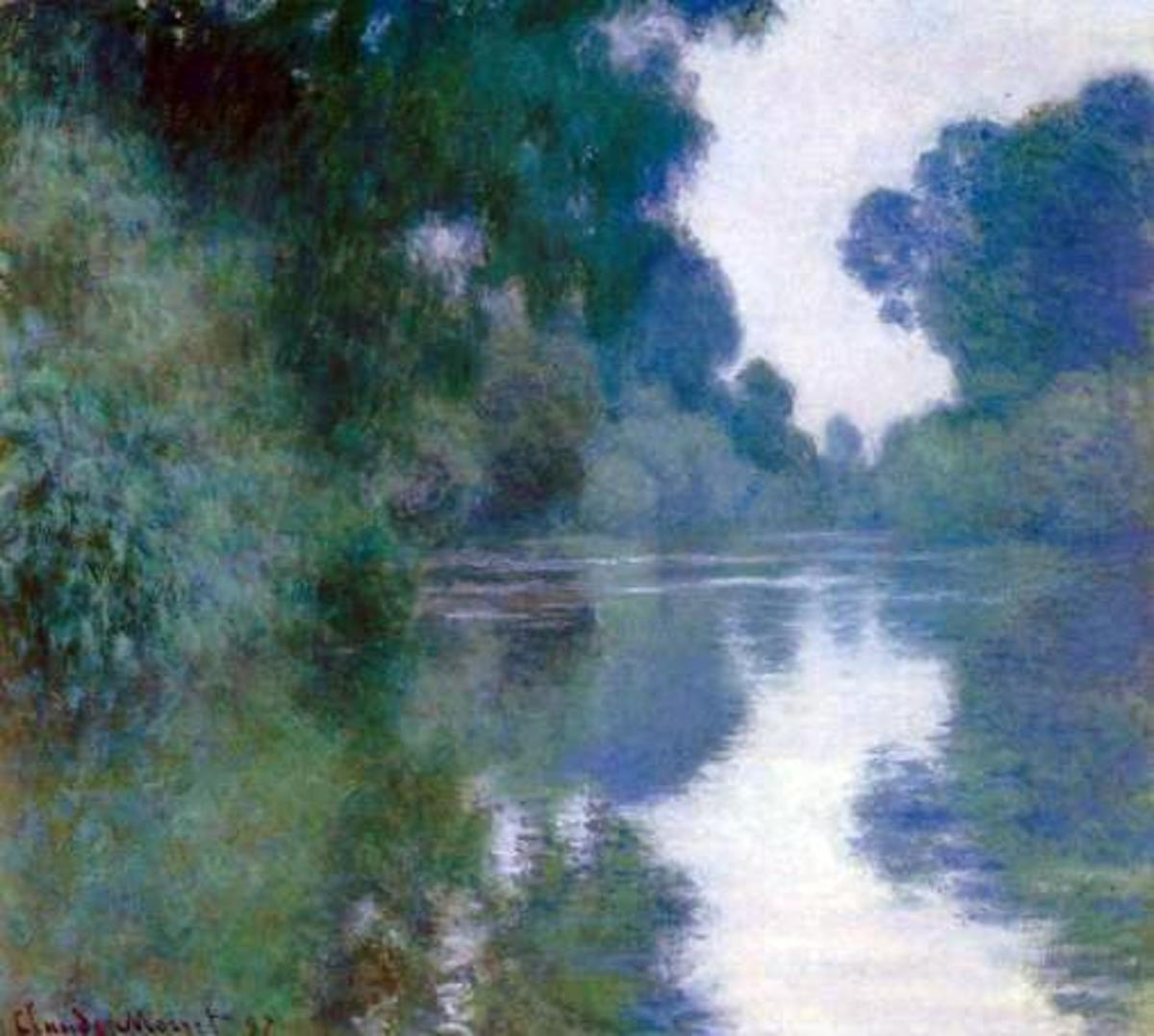 Another painting by Claude Monet with lots of soft and lost edges. The sharpest edges, where the trees meet the sky, are still broken and soft. Monet- Branch of the Seine near Giverny