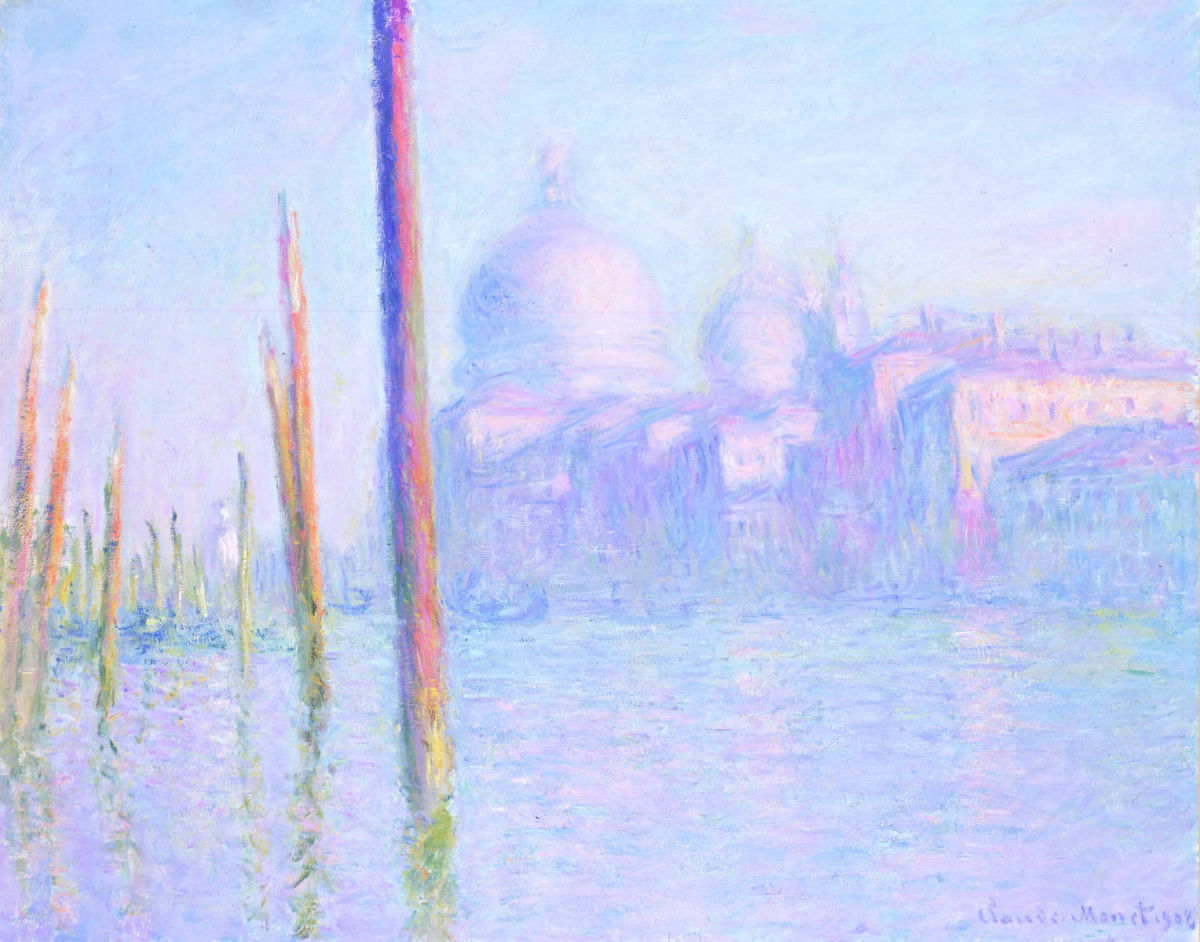 Lots of soft and lost edges in this painting. Our eyes go towards the strongest contrast and the sharpest edges first. Sharp edges are used to create focal points in a painting. Claude Monet: Grand Canal Legion of Honor.