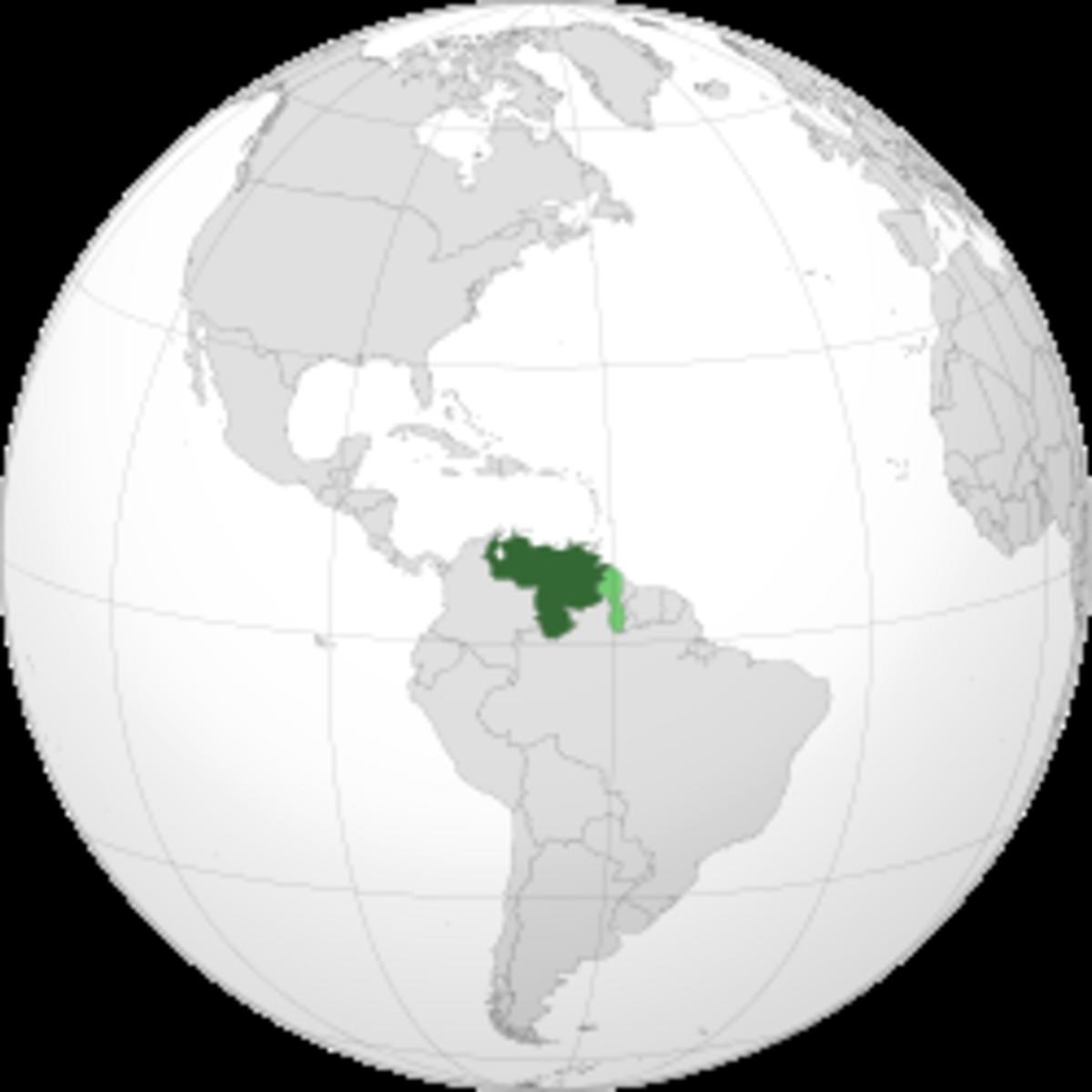 Map showing Venezuela
