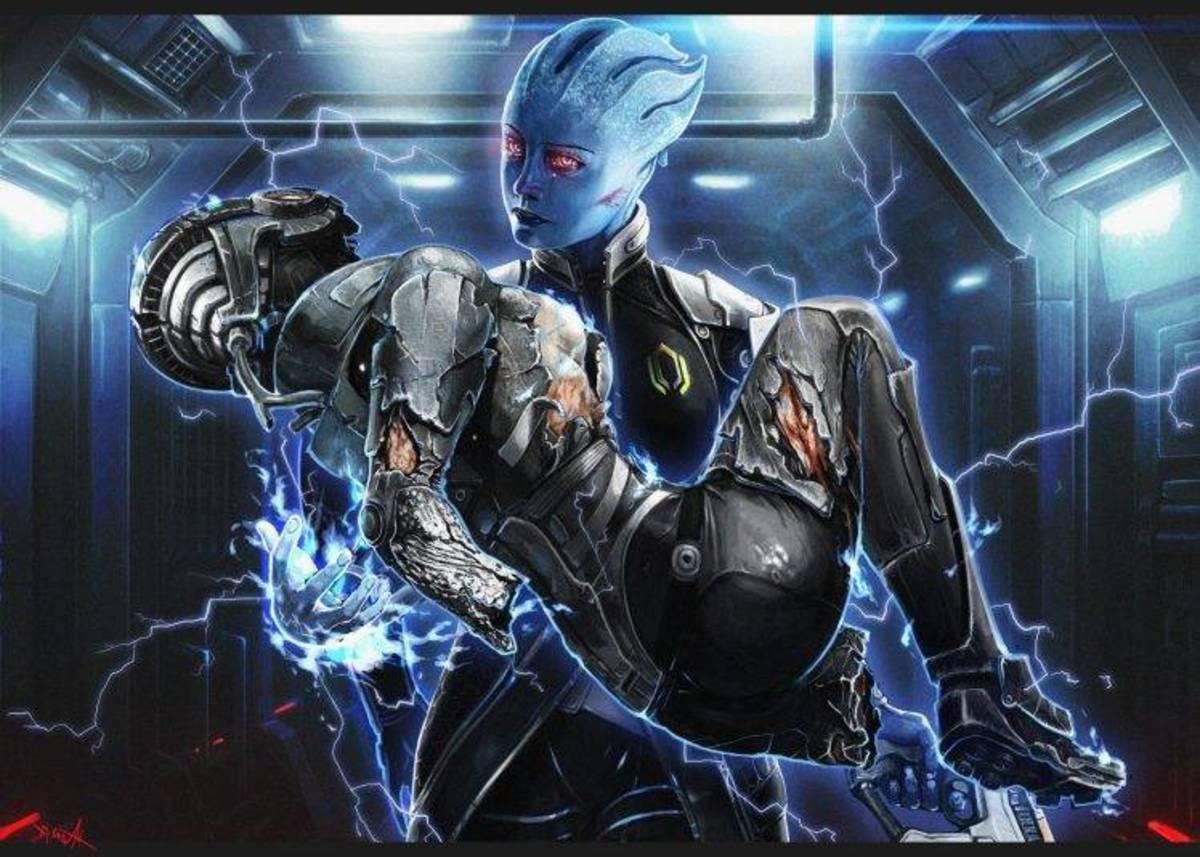 Fan art of Dark Liara carrying Shepard's body to Cerberus.