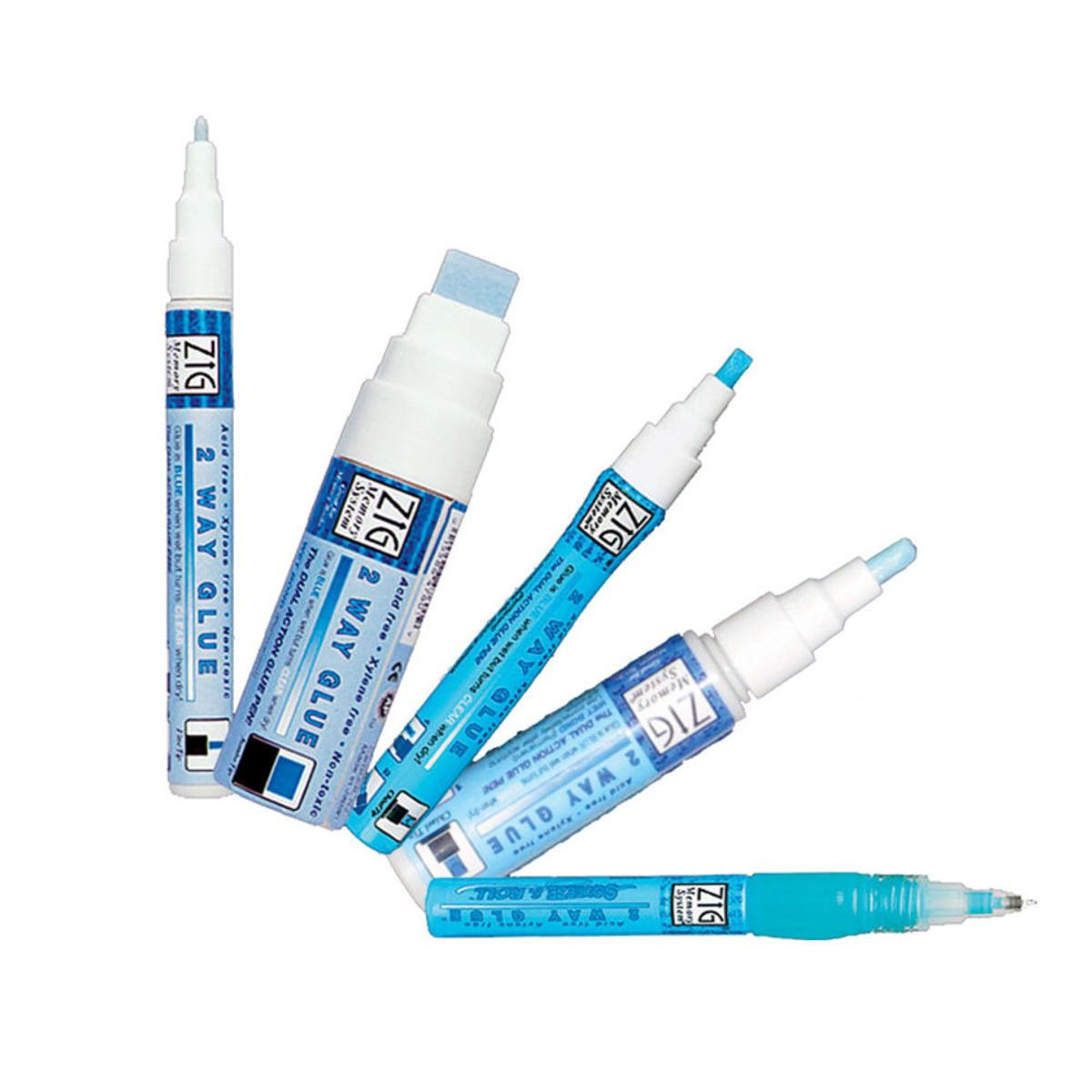 Glue pens come in different widths