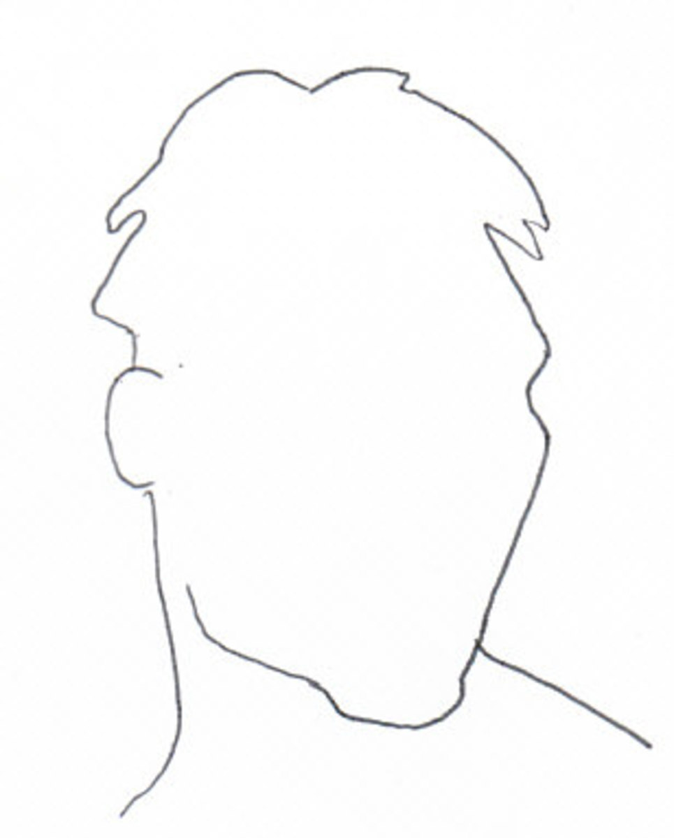 Outline of the head and a little shoulders to where the edge of the picture will be. Use this to place the head on the page.