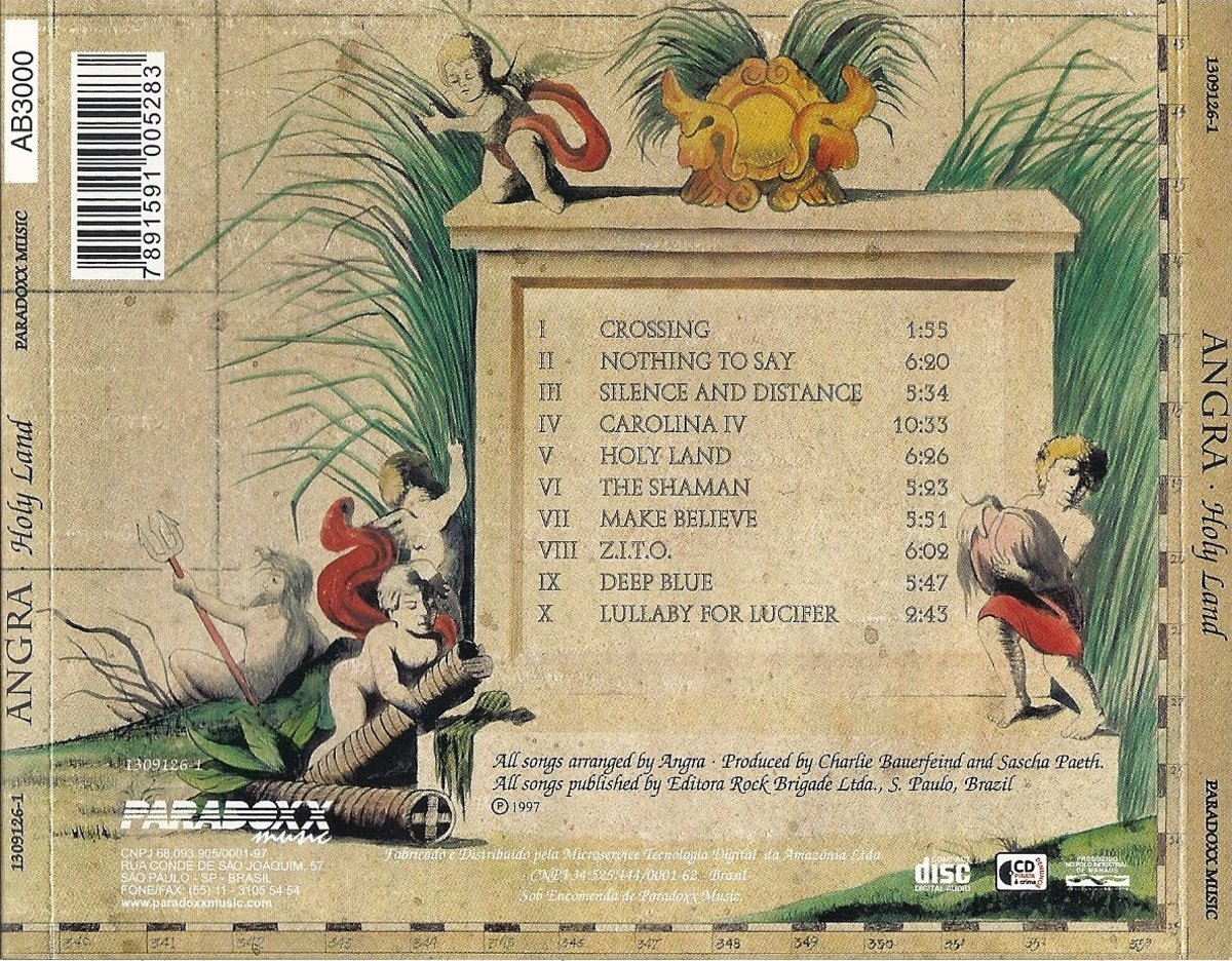 On the back cover is a stone slab drawing with the names of the songs of the album along with other artwork.