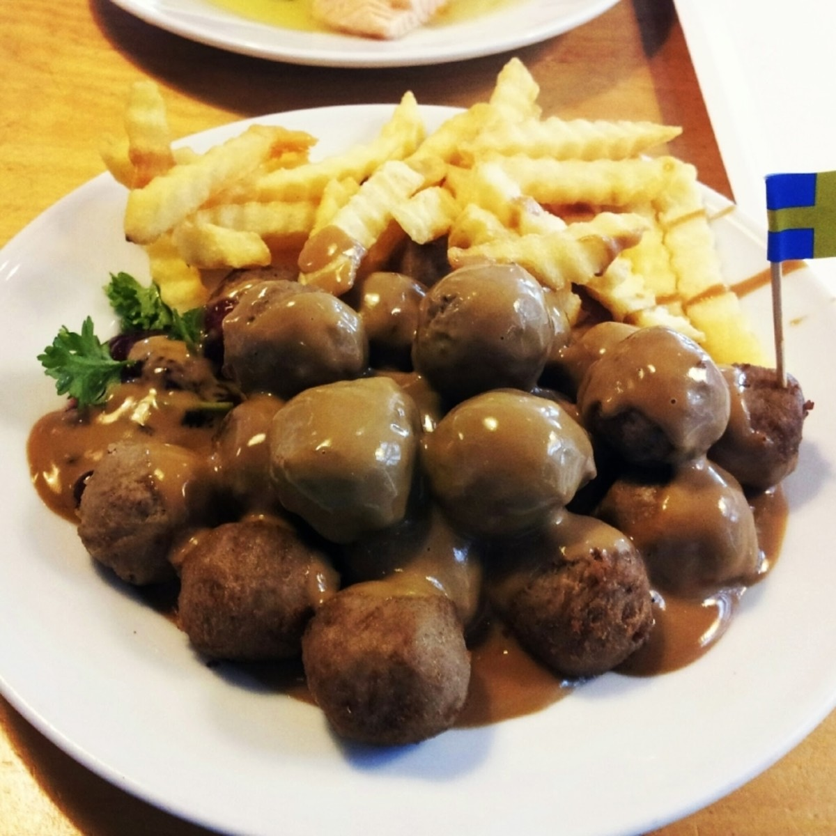 Swedish meatballs served with French Fries
