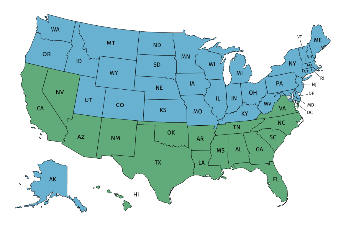 States in Blue are Offseason US States