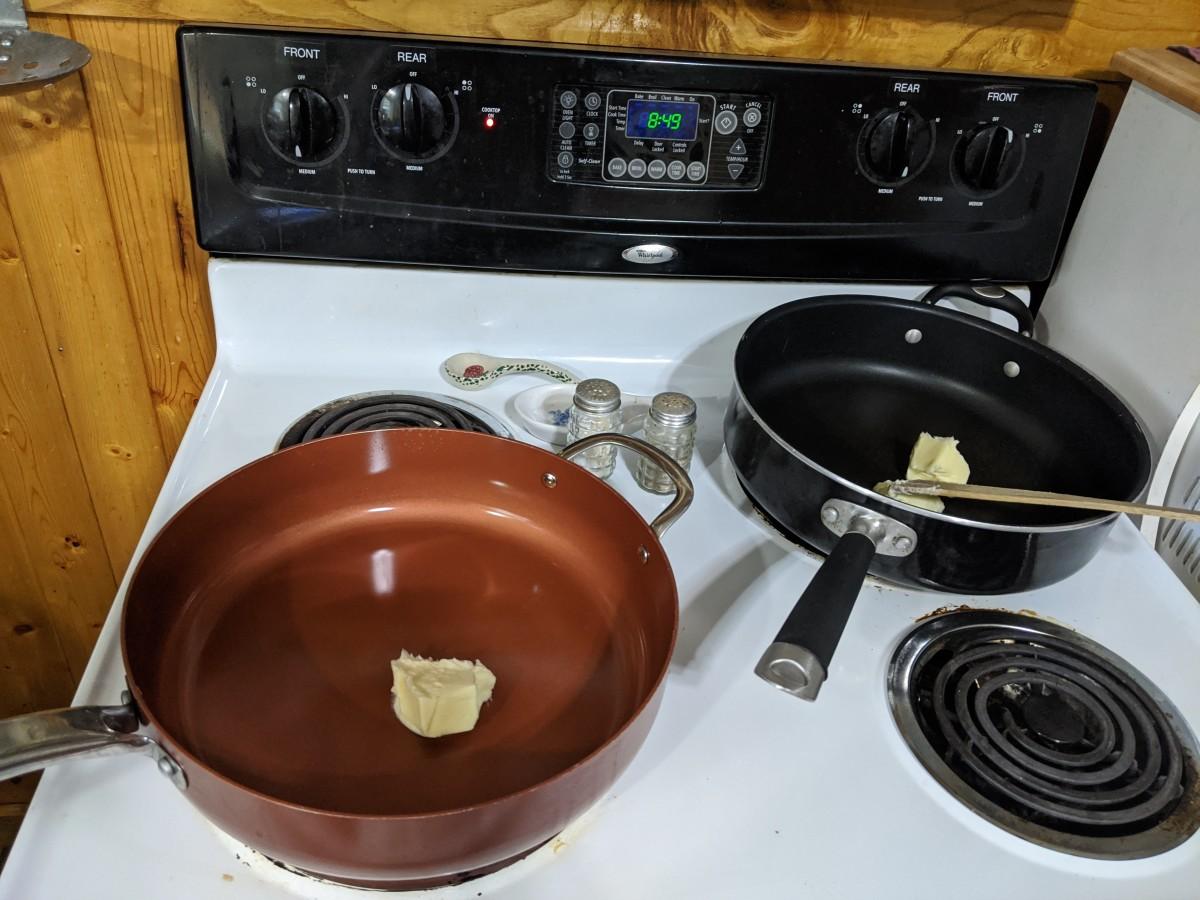 Melt butter in frying pan