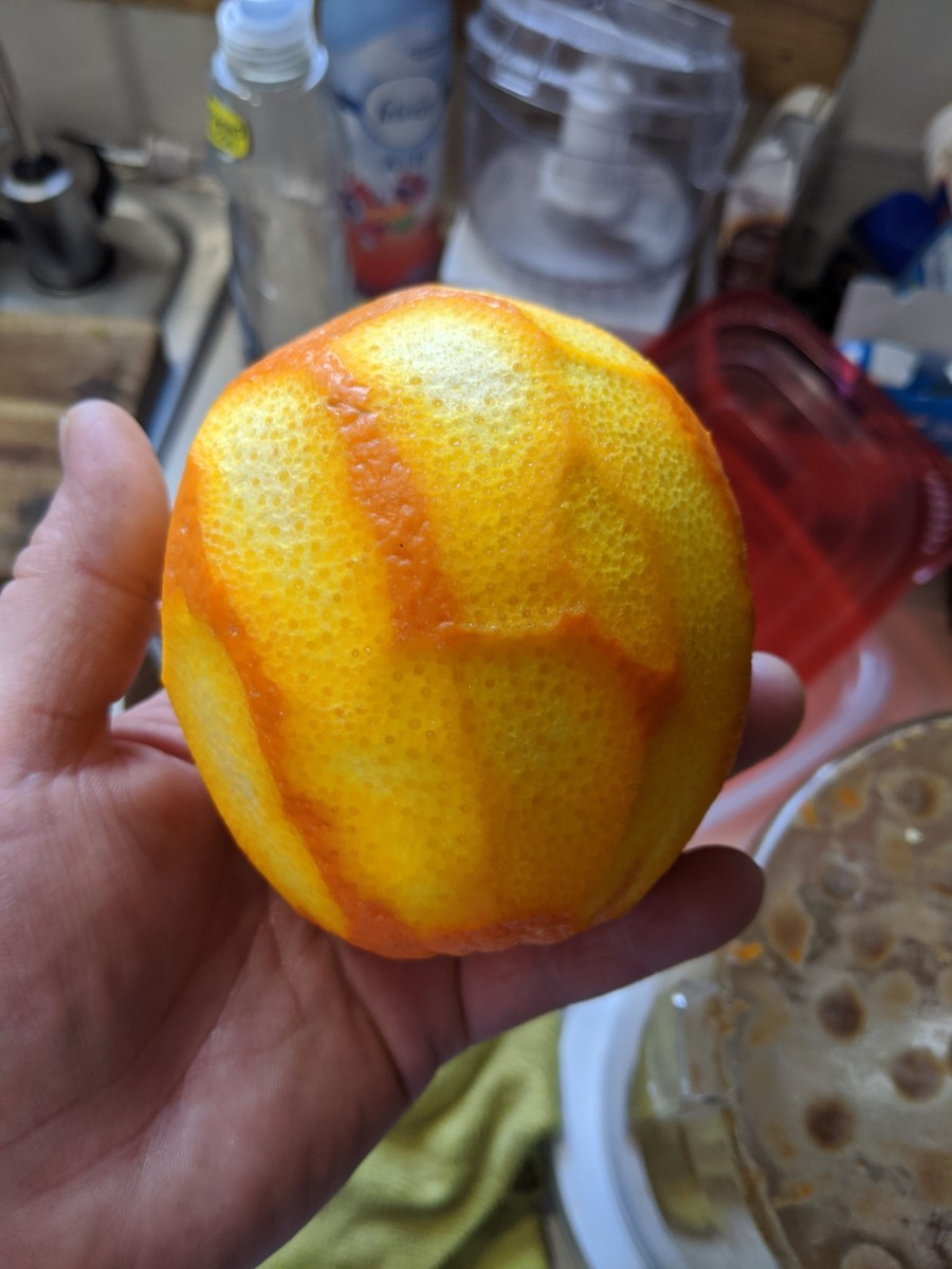 Use rest of orange for something else. Perhaps I could have removed the juice, but I did not.