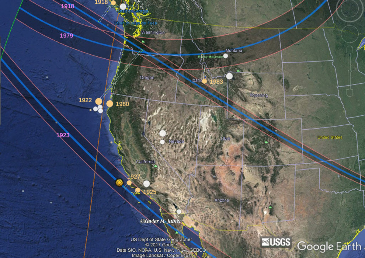 16 earthquakes of at least 6.8 magnitude that occurred from 1918 to 1983 in the western U.S. and the 3 solar eclipses that preceded 6 of them within 4.7 years (the center of their paths within 644 km or 400 miles from the associated earthquake).