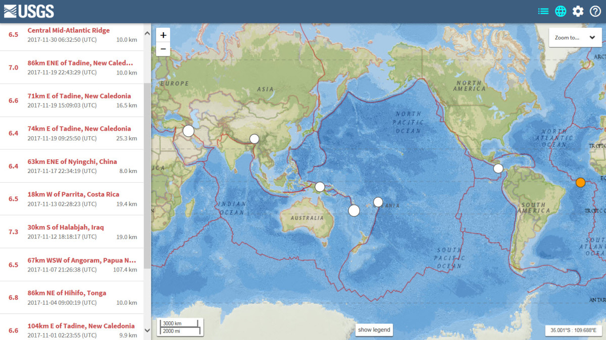 Map showing all earthquakes of at least 6.4 magnitude during the month of November 2017 (using the USGS database search engine).
