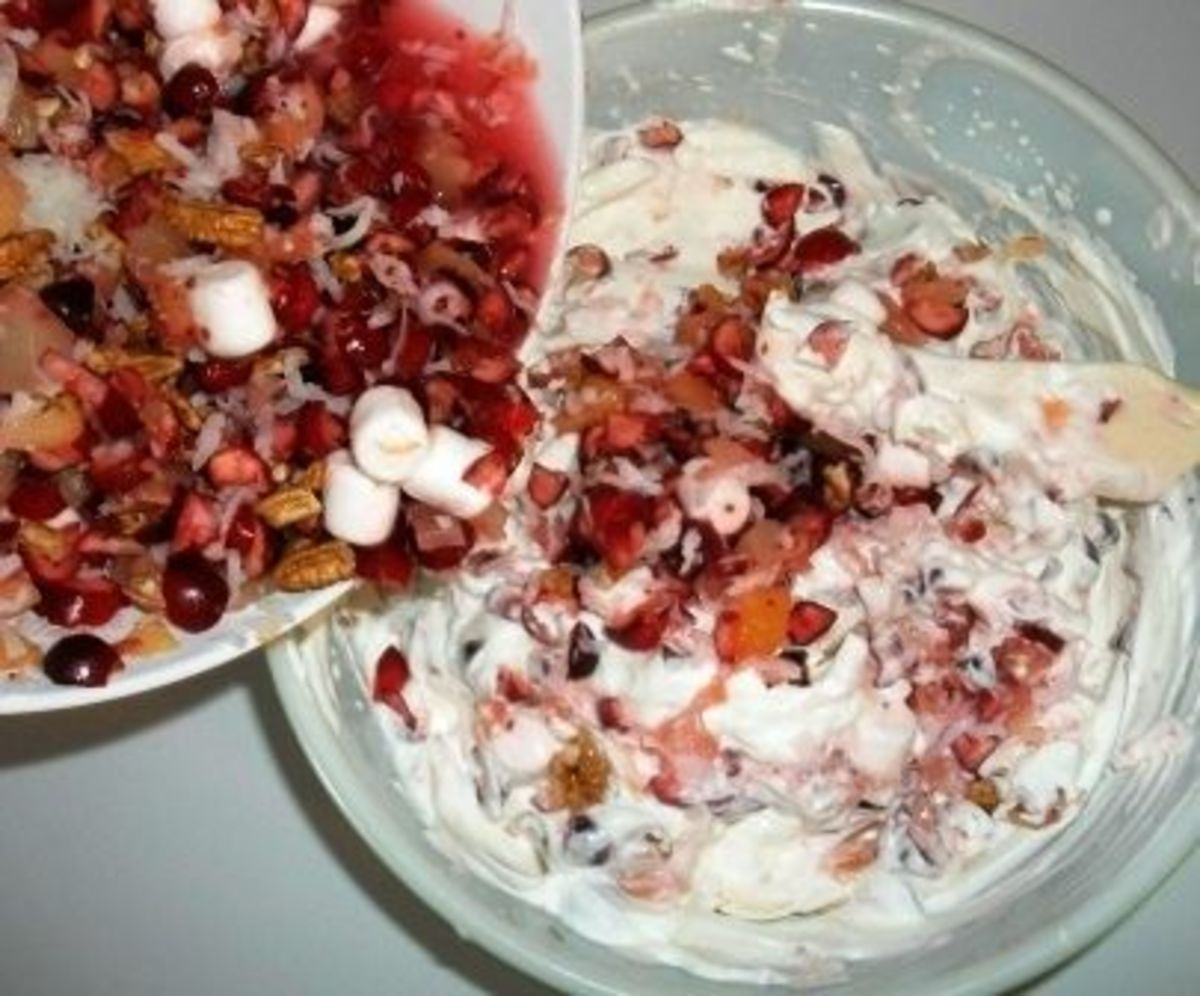 Fold cranberry mixture into whipped cream.