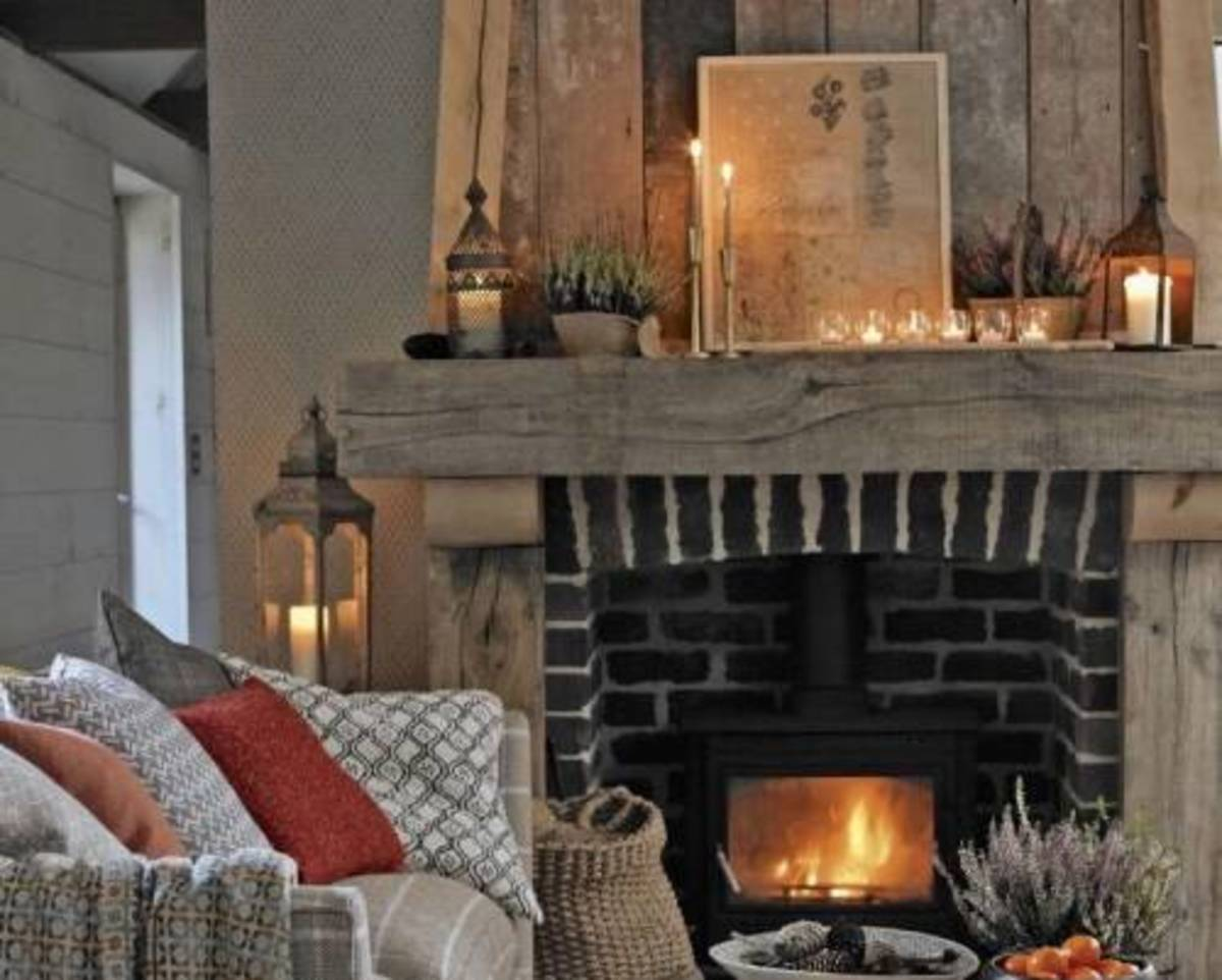 The warm romantic fireplace and fragrant candles.