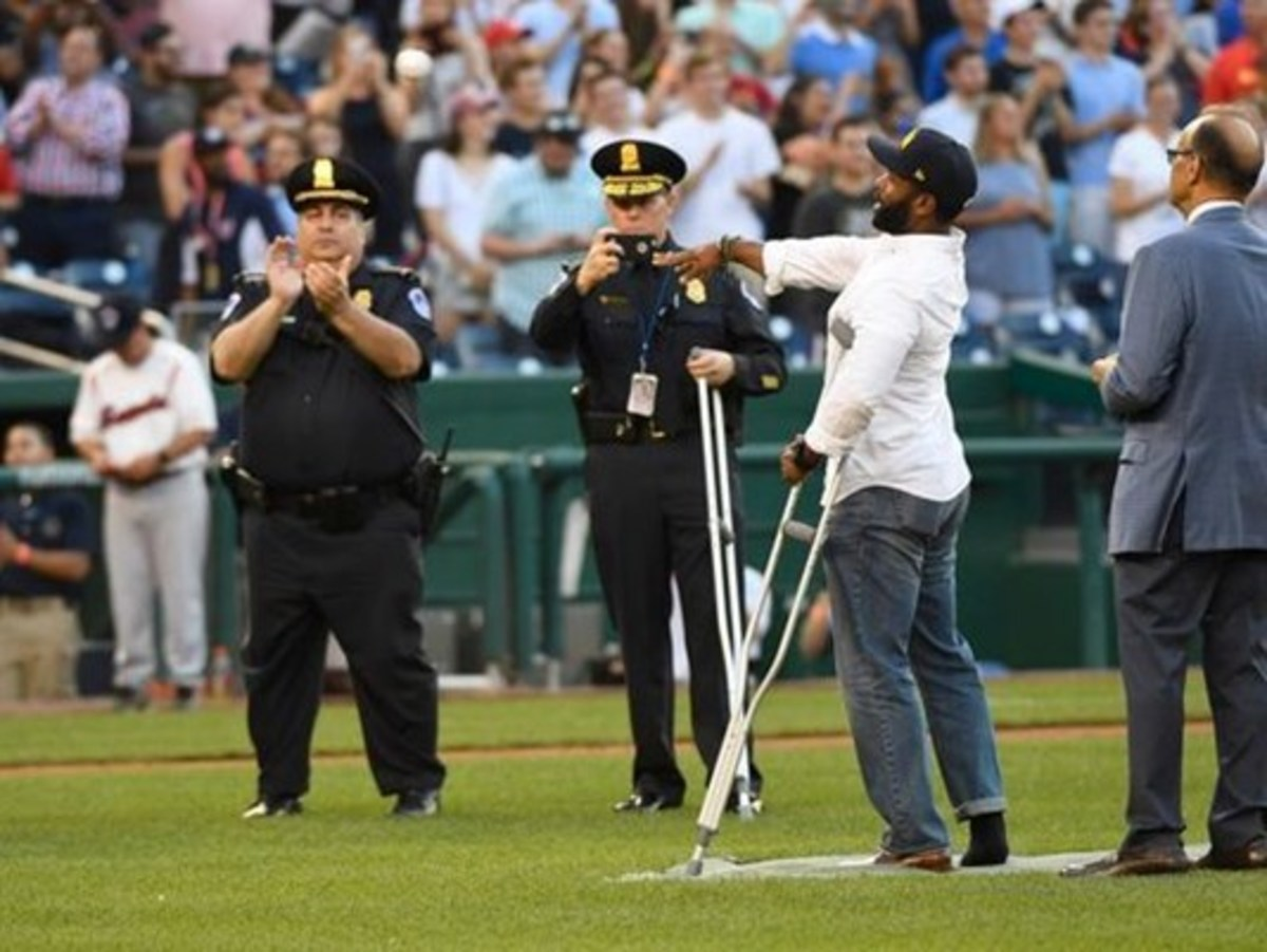 Capitol Police Officer David Bailey throwing out First Pitch.