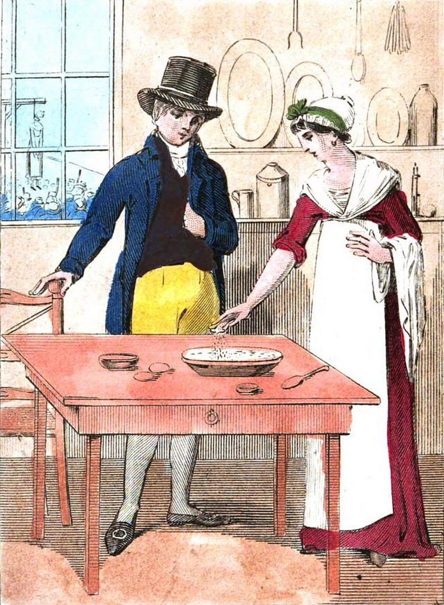Mary Bateman seasoning a pudding with poison. Note the body hanging from the gallows outside the window.