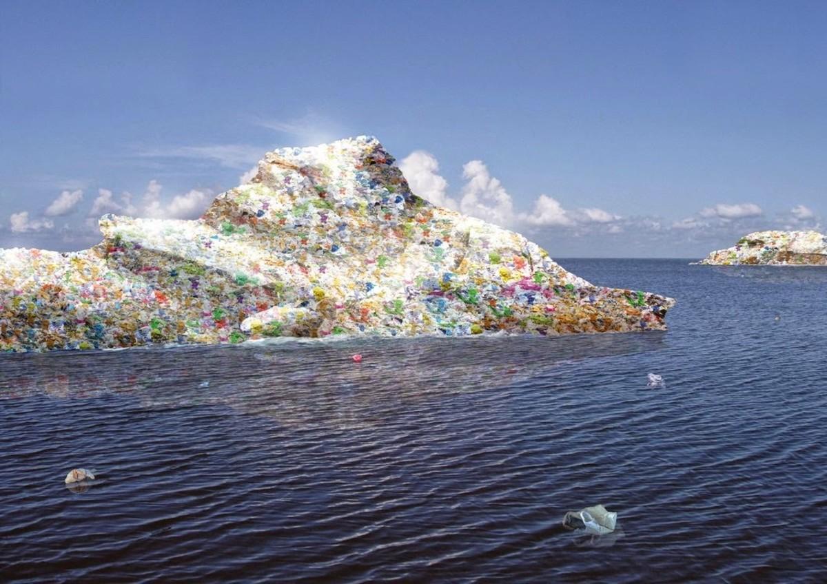 An artist's depiction of floating trash islands