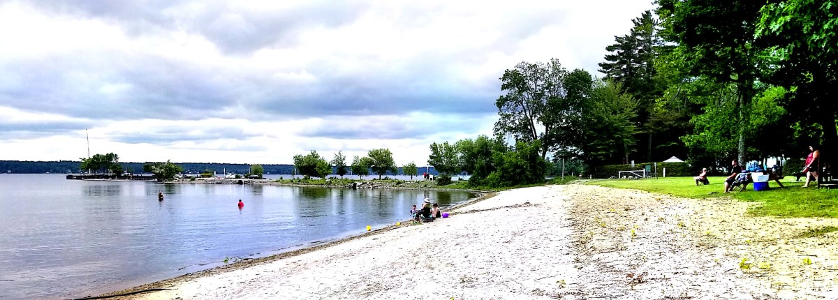Beach and dock at Norway Bay in Bristol (MRC of Ponctiac, QC) on the Ottawa River.