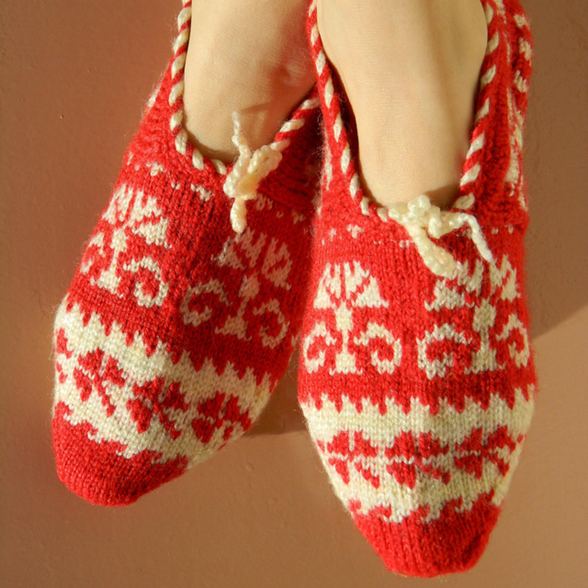 Red and White Turkish Slippers