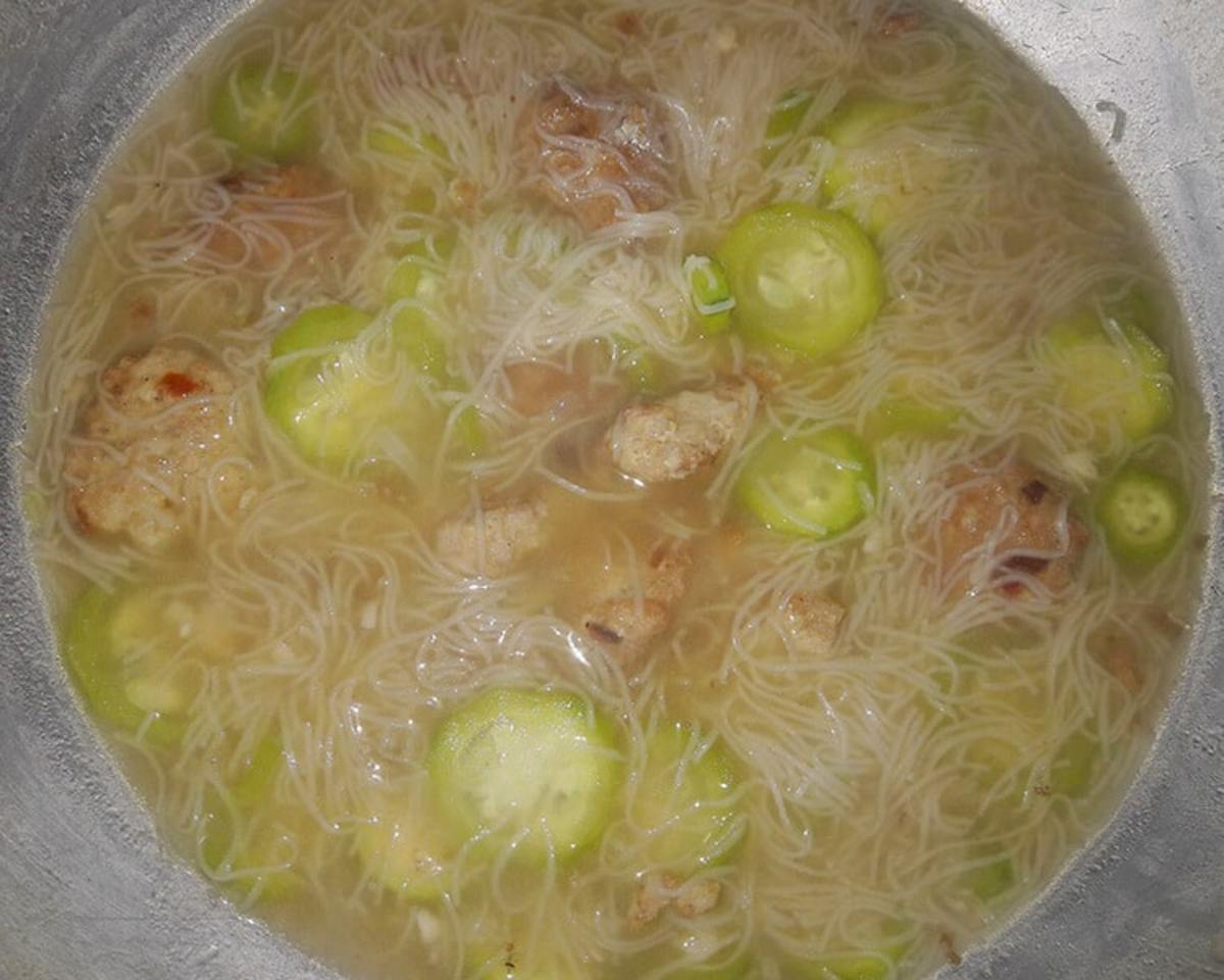 Philippine Misua and Patola Soup with Meatballs