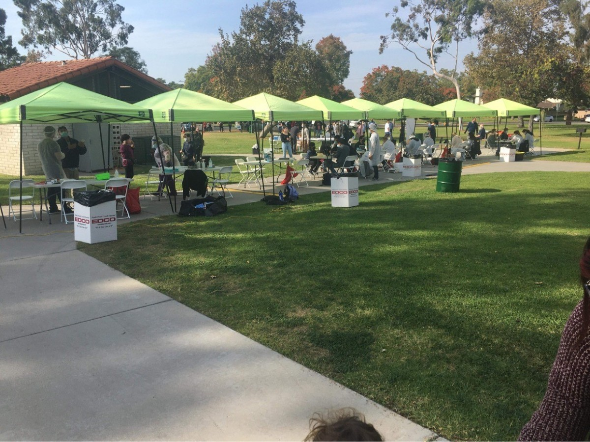 See that green bucket on the left side of the picture? That was the communal sanitization area for the volunteers and employees.