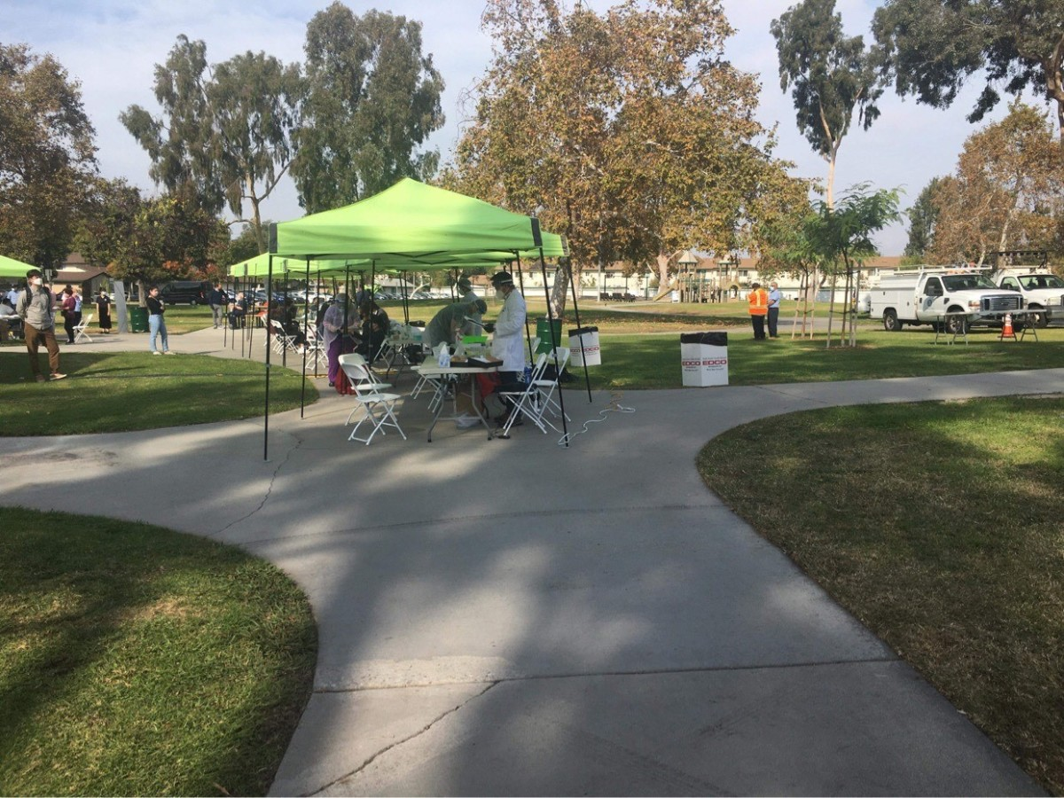 A free COVID-19 testing area set up at a public children's park when there are a plethora of empty office parking lots that would be better suited to the task.