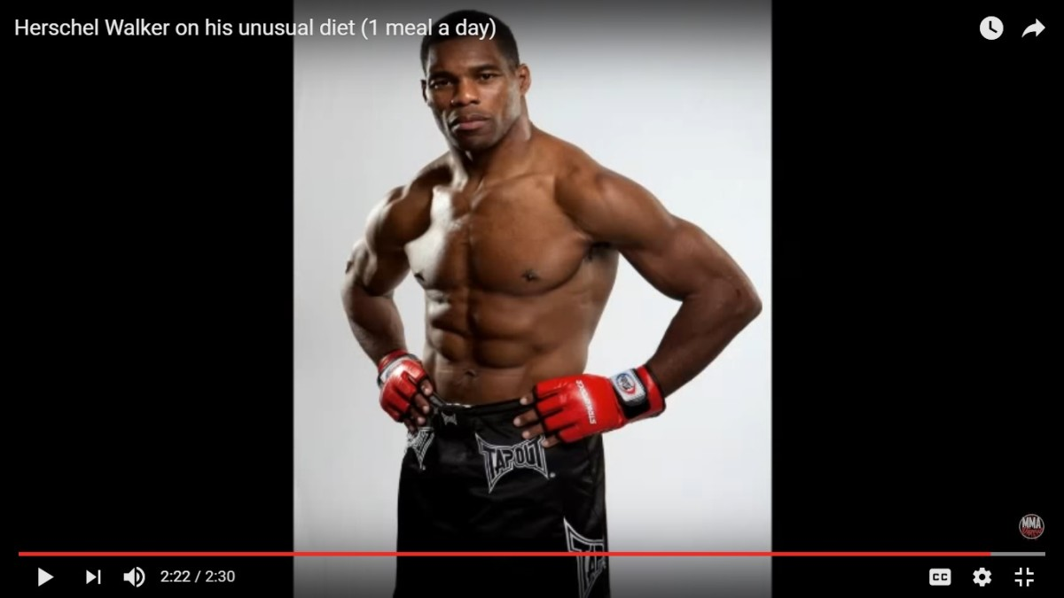 Herschel Walker has won the Heisman trophy in football and does mixed martial arts. He has been eating one meal per day since age 18.