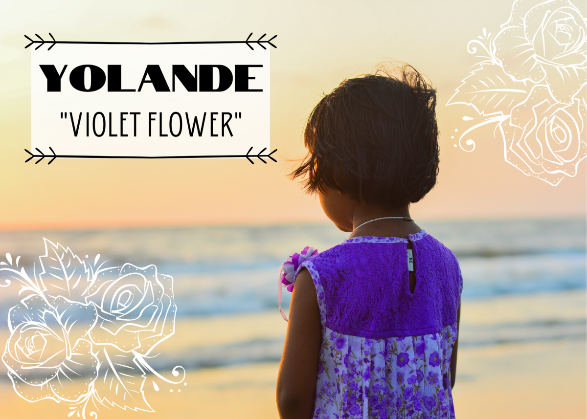 "Yolande was the name of a real-life princess of France. It means ""violet flower."""