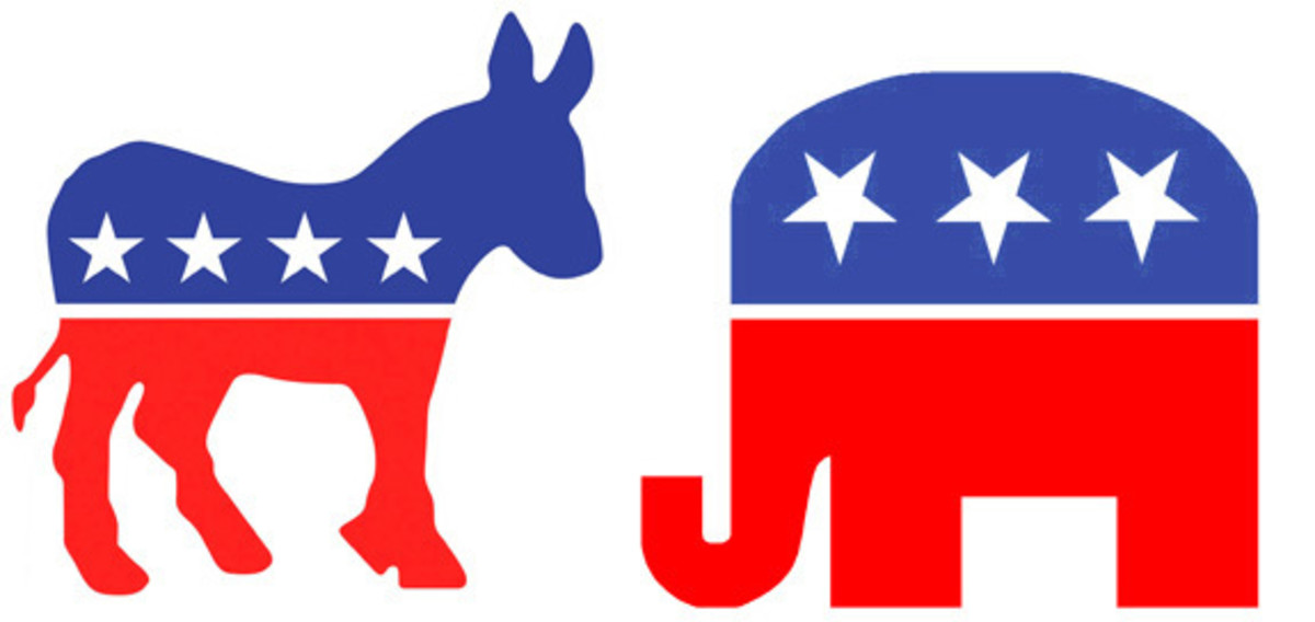 Contemporary images depict the Democratic Party symbol as a donkey and the Republican Party symbol as an elephant.