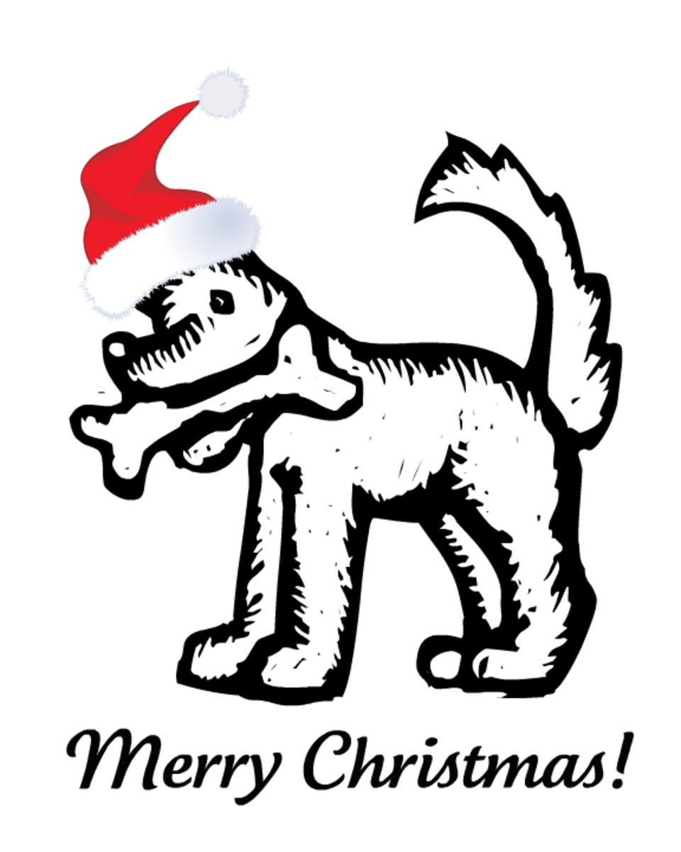 Dog Christmas coloring page
