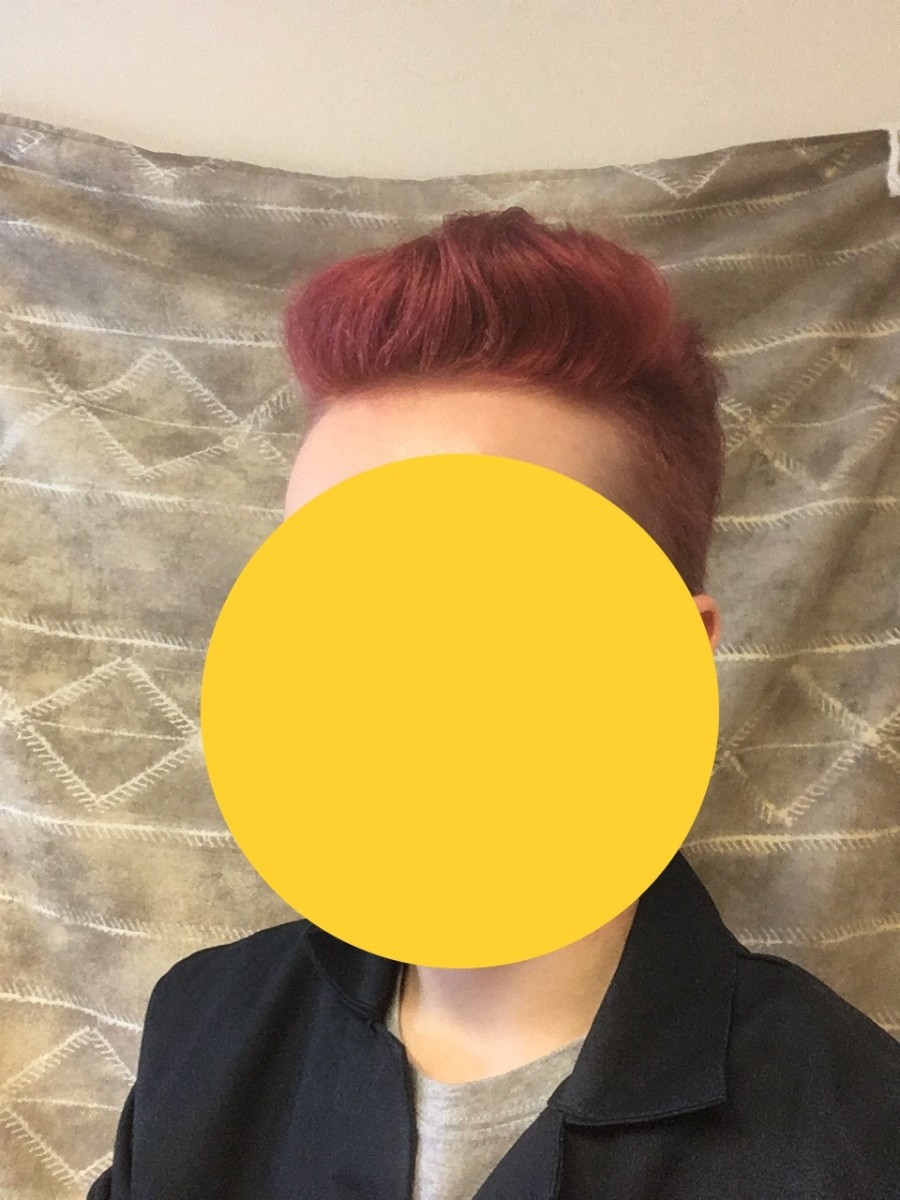 Here's a photograph of me about a week after I used the dye. It's pretty red in the picture, but looks even redder in the right lighting. Face obscured for security.