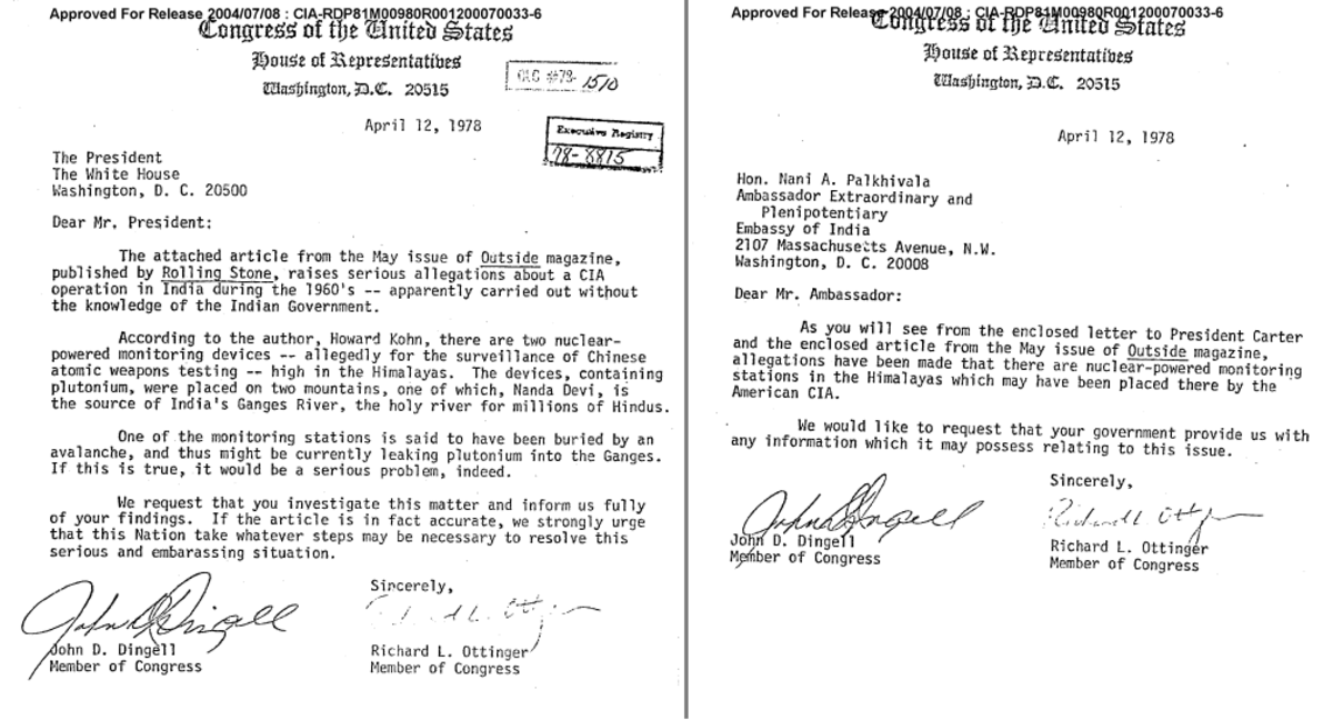 Letters by Congressmen to the US President and Indian Ambassador (Declassified Records)