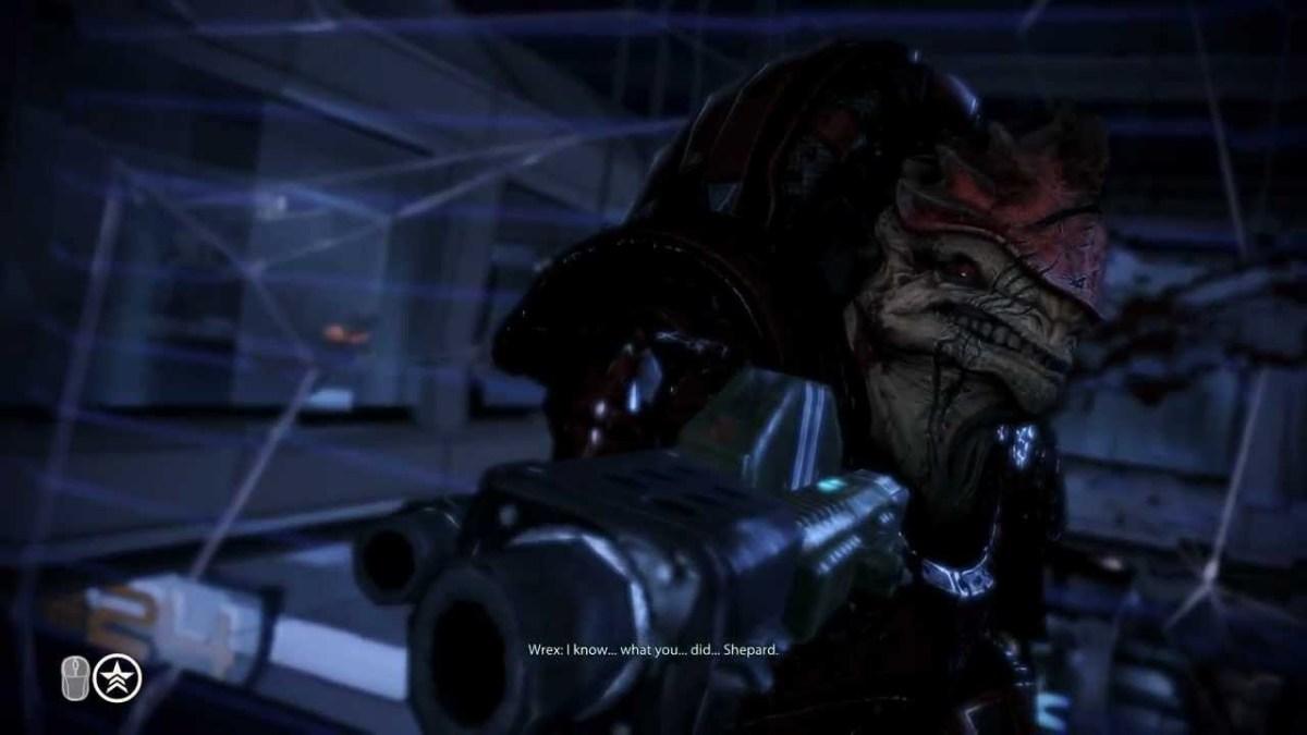 "Wrex tries to kill Shepard in ""Mass Effect 3."""