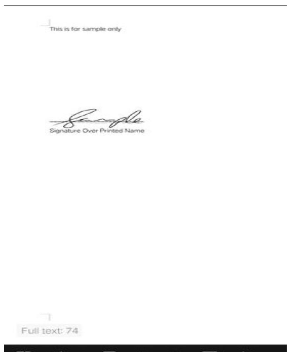 Signature in a sample document.