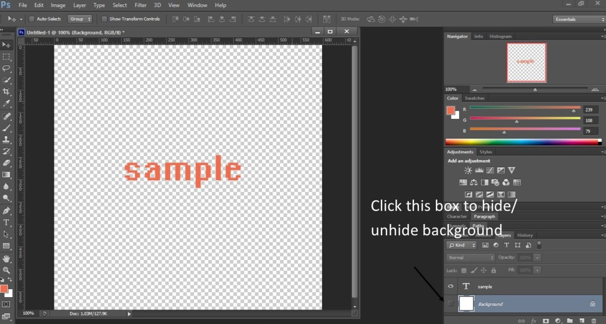 Sample image with the background hidden/omitted in Photoshop.