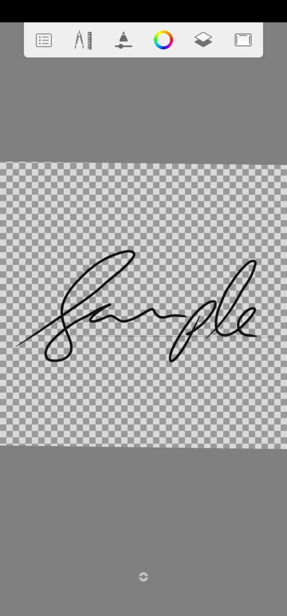 Sample signature in Autodesk Sketchbook with background hidden.