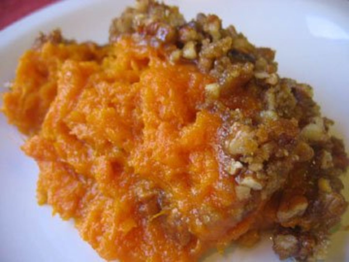 Old Fashioned Sweet Potato Casserole Topped With Pecans
