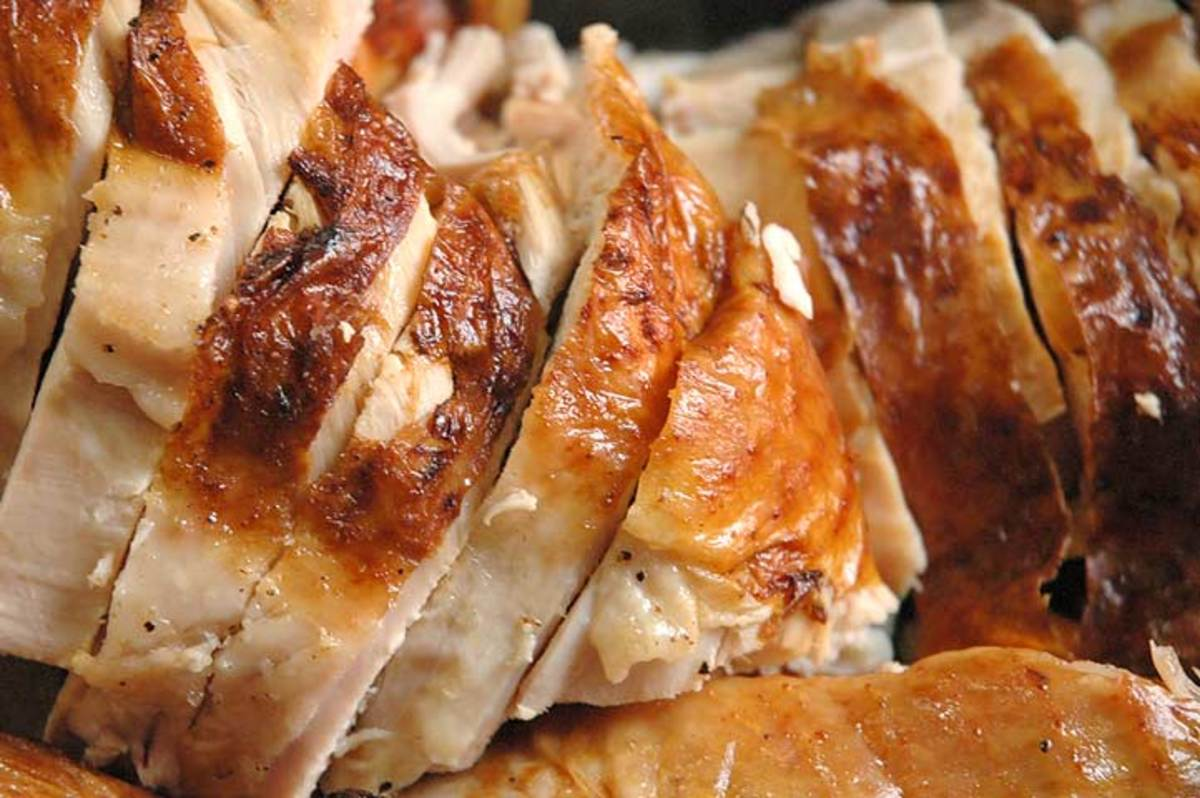 Sliced turkey up close