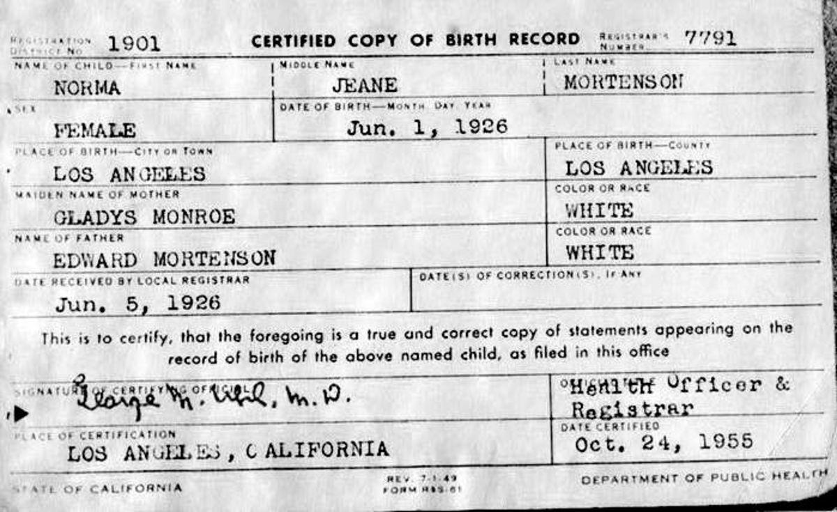 Marilyn's Birth Certificate