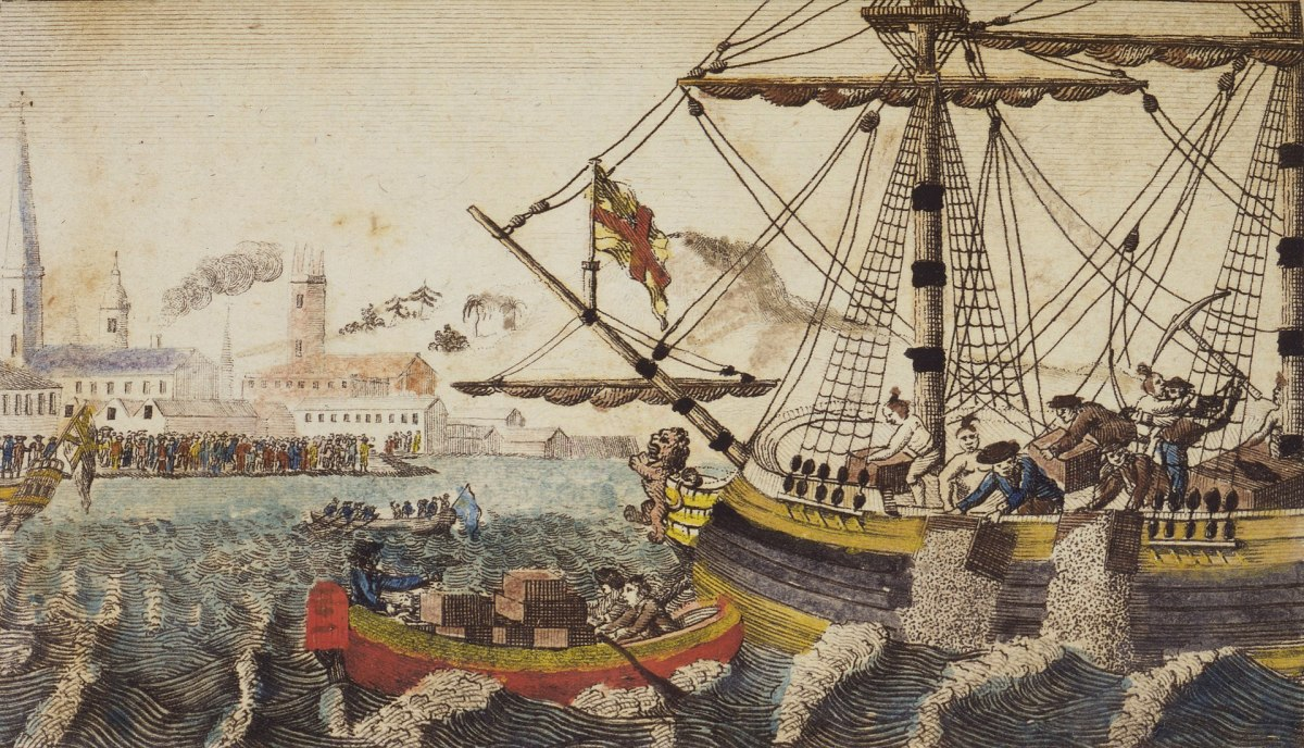 Illustration of the Boston Tea Party in 1773. Source: W.D. Cooper. Boston Tea Party in The History of North America. London: E. Newberry, 1789.