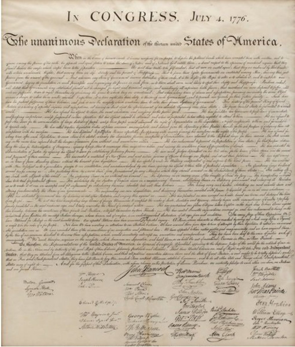 The Declaration of Independence with signatures of the delegates.
