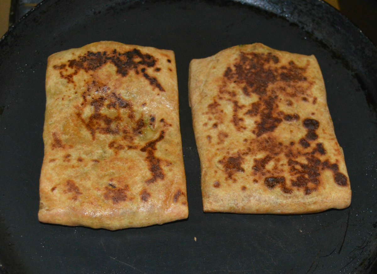 Roasted Mughlai paratha with beautiful golden flecks