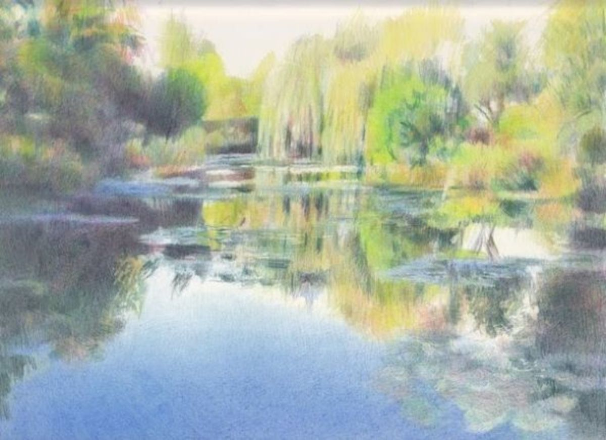 "The Water Garden at Giverny (9"" x 12"", coloured pencils on Arches HP) Katherine Tyrrell - all rights reserved"