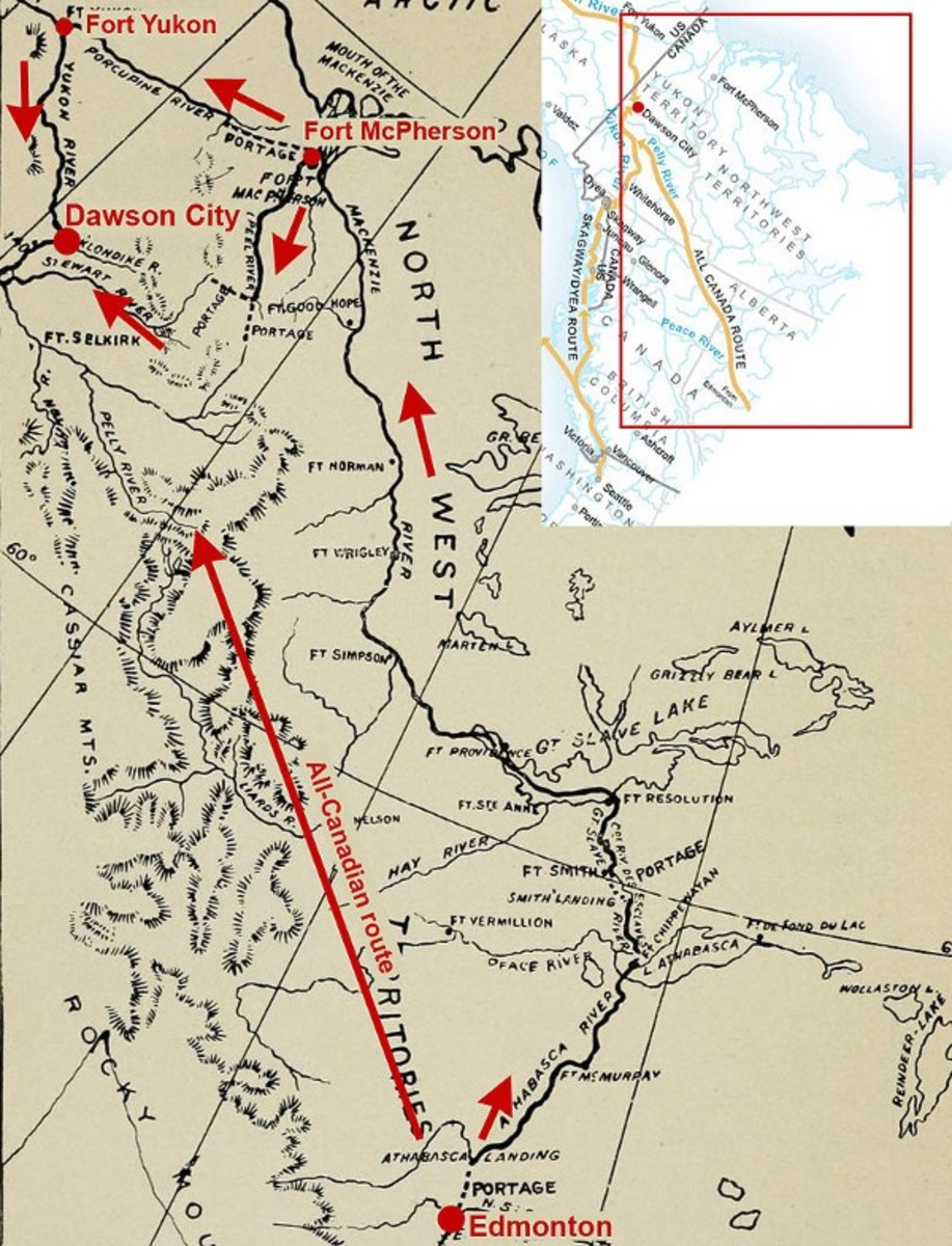 Edmonton routes. Red frame: Position of map on map of northern America. Big arrow: All-Canadian route from Edmonton by rivers and portage to Yukon River via Pelly River. Small arrows: Back door route. Black solid line: McKenzie River most of the way.